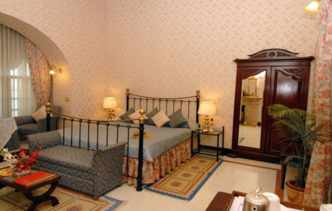Bedroom of Gajner Palace Heritage Hotel
